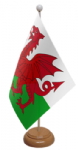 Wales Desk / Table Flag with wooden stand and base